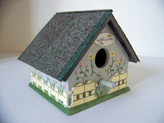 Birdhouse Cottage with Picket Fence, Flowers & Shingled Roof - Indoor/Outdoor - Grey with Black Roof - 3 d Hand Painted/Decorated