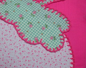Pink Pillow with Strawberry Applique
