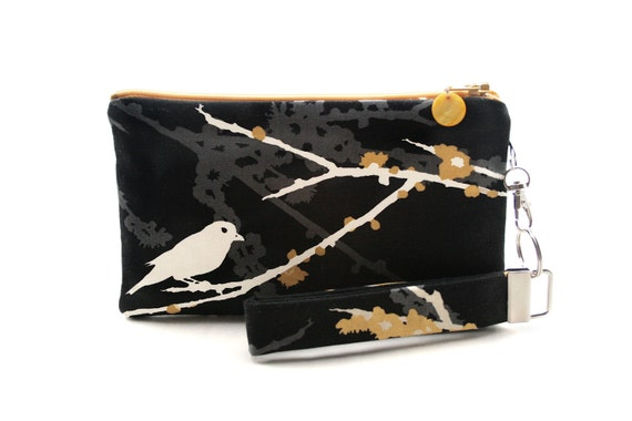 Bird in tree wristlet / clutch / small purse / zipper pouch & detachable key fob gift set for women with modern style in black and yellow