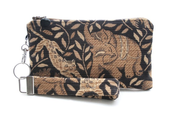 Elephant bag - brown & black clutch - small purse - boho clutch - wristlet - safari animal print fabric bag - womens handmade handbag