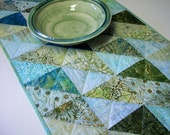 Batik Table Runner Cool Green Blue Tonga Green Tea Triangles Handmade Quilted Ready to Ship One of a Kind