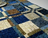 Batik Table Runner Indigo Blue Chocolate Brown Coco Berry Tonga Handmade Quilted Ready to Ship One of a Kind