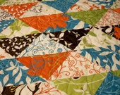 Butterfly Quilt Triangles Chrysalis Tangerine Turquoise Lime Chocolate Brown Handmade Quilted