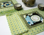 Placemats Napkins AlFresco Green Brown Blue Quilted Set of 2