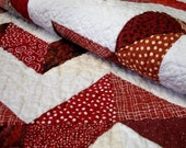 Chevron Lap Quilt Red White Triangles Zig Zag Handmade Ready to Ship One of a Kind