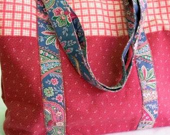Pink Tote Bag Pink Blue Paisley