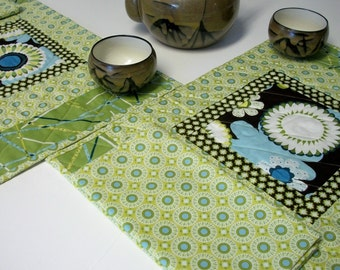 Placemats Napkins AlFresco Green Brown Blue Quilted Set of 2 Quiltsy Handmade FREE U.S. Shipping