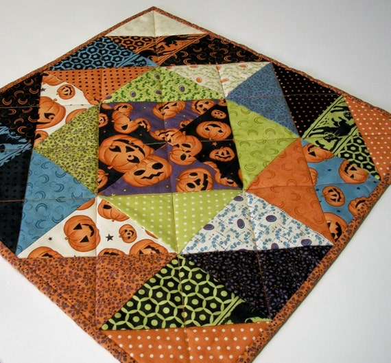 Halloween Table Topper Scaredy Cat Handmade Quilted Ready to Ship One of a Kind