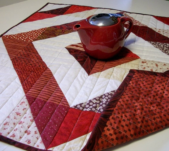 Table Topper-Red and White Triangles Handmade Quilted Ready to Ship One of a Kind