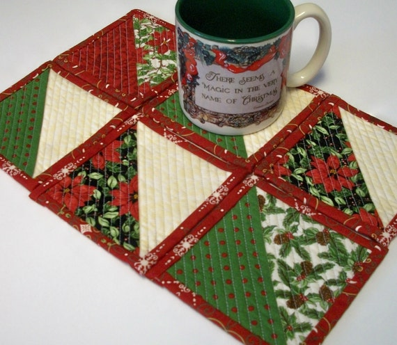Christmas Coasters Nature's Gift Reversible Quilted Handmade (set of 6) Winter Holiday Ready to Ship One of a Kind