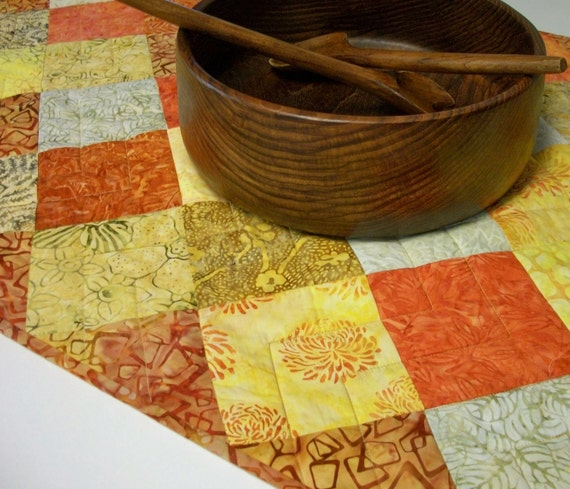 Batik Table Runner Orange Yellow Rust Mango Salsa Tonga Handmade Quilted Ready to Ship One of a Kind