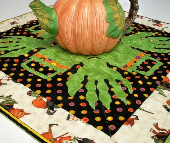 Reserved for Mary T Halloween Table Topper Monster Hands Hand Quilted Ready to Ship One of a Kind