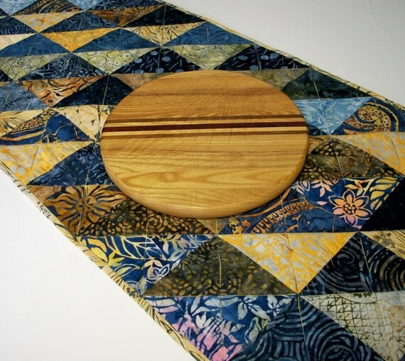 Table Runner-Batik Triangles Blueberry Pie Tonga Creme Brulee Handmade Quilted Ready to Ship One of a Kind