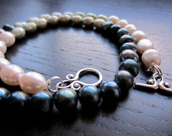 Ombre freshwater pearl necklace in forest, mint & cream