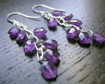 Sparkling amethyst and silver earrings