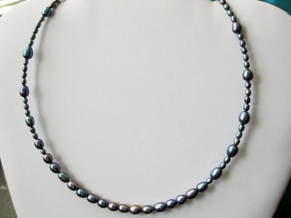 Something Blue - graduated pearl and silver necklace