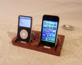 Etsy Super Sale  - Limited offer Deal - DUAL iPhone - iPod Dock -Charger and Sync Station - Oak - Brass style V2