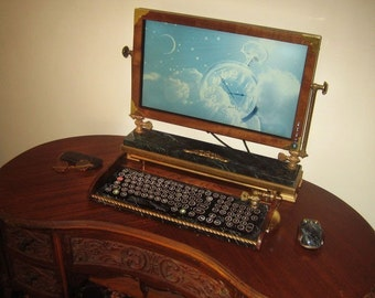 Custom Built Vintage Looking - 21.5 inch Widescreen LED Monitor-Wireless Keyboard-Mouse Combo ...Victorian Steampunk Style