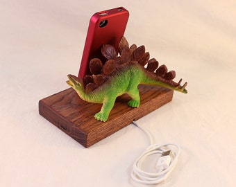 iPhone - iPod Dock -Charger and Sync Station - Oak -  Big Green Fin Dino - Scary - One of a Kind - FREE Shipping - Dinosaur