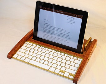 iPad Workstation - Keyboard - Tablet  Dock  - Oak -  iPad, IPhone, Tablet Bluetooth Keyboard Computer Desktop Workstation - iPad Stand