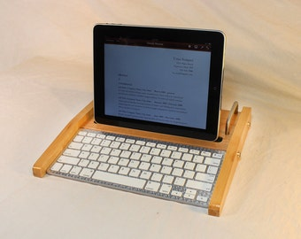 iPad Workstation - Keyboard - Tablet  Dock  - Maple -  iPad Tablet Bluetooth Keyboard Computer Desktop Workstation - iPad Stand