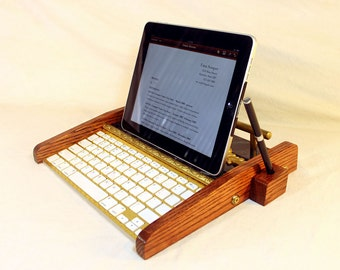 iPad Tablet Workstation - Keyboard - Tablet  Dock  - Victorian Marble Steampunk - Oak -  With Pen Stylist - Desktop Workstation - iPad Stand