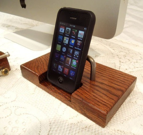 It's a Etsy Super Sale - Discount Limited Deal - iPhone - iPod Dock -Charger and Sync Station - Oak - Brass style V2 iDock