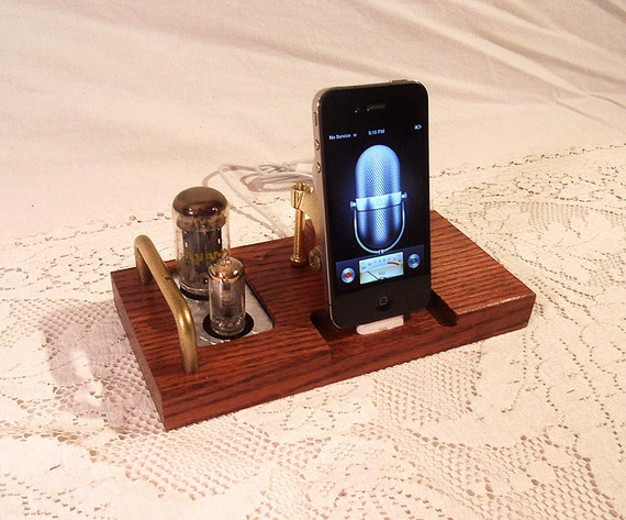 iPhone - Samsung Dock - iPod Dock - Charger and Sync Station -- Oak  -  Tube Model  steampunk