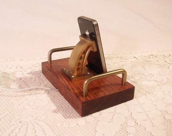 The Industrial -  iPhone Dock - iPod Dock -Charger and Sync Station - Oak - Brass style V8-EX Model... iPhone4 Docking Iphone Dock