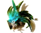 Blue, Black and Green Plaid,  Feathered, Bottle Opener Hobo Fascinator (Tiffany)