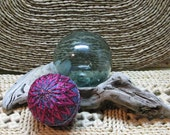 "FREE SHIPPING 10.5"" Japanese Temari Thread Ball - Fiber Art - Home Decor - Fushcia Pink Chrysanthemum"