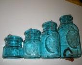 Ball Mason Bicentennial jar cannister set - blue green glass
