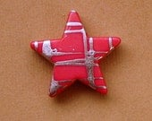 Acrylic Star Beads red and silver 23mm 16pcs Please use coupon code STORECLOSING50 for 50% off your purchase