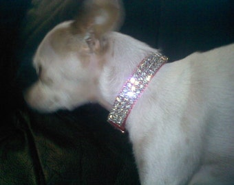 "Rhinestone Dog Collar Swarovski Crystal Size Fits 9-16"" necks by BlingedOutPets"