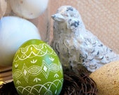 Easter - Seen on the Martha Stewart Show - Green - Lithuania Pysanky - Scratched Chicken Egg - Geometric Tulips - Free Wooden Egg Stand