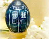 Blue Geekery Egg - Doctor Who Tardis - Bigger on the Inside - Police Box - Present - Space Science Pysanky -  Stand or Ornament - Christmas