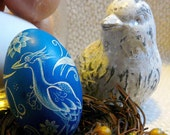 Art Nouveau - Stork Bird - Lithuania Pysanky - Etched Scratched Chicken Egg - Flowers and Scrolls - Stand or Ornament