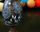 Seen on the Martha Stewart Show Egg Black Floral Ornament Carved Lithuanian Pysanky Etched Chicken - Stand or Ornament