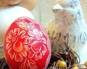 Easter - Seen on the Martha Stewart Show Hand Scratched Egg Lithuanian Present Floral Rose Pysanky - Stand or Ornament
