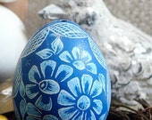 Hand Etched - Flowers - Lithuanian European Poland Ukraine Pysanky Present - Real Egg - Stand or Ornament - Easter