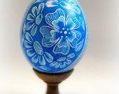 Spring Easter Egg Hand Scratched Egg Unique Present Floral Light Blue Royal -  Lithuanian Pysanky Etched Carved