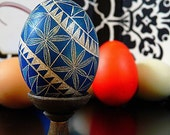 Hand Etched Egg Geometric Scratched European Lithuanian Poland Ukraine Carved Egg Art - Stand or Ornament - Easter