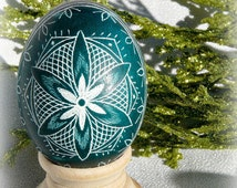 Teal Hand Etched Egg Star Scratched Lithuanian Ukraine Poland European Egg - Easter - Stand or Ornament