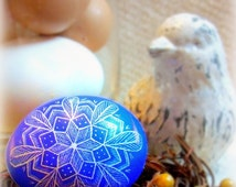 Seen on Martha Stewart Show - Geometric Star Feather Carved Etched Chicken Egg Lithuanian Pysanky - Present - Easter - Stand or Ornament