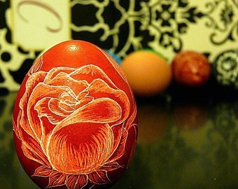 Spring Egg Scratched Lithuanian Floral ROSE Red Pysanky Carved Stand or Ornament