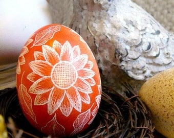Seen on the Martha Stewart Show - Hand Etched OOAK Scratched Egg - Sunflowers Lithuanian Pysanky Present - Stand or Ornament - Easter