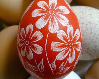 Seen on the Martha Stewart Show - Hand Etched Scratched - Flowers - Daises - Egg - Rustic- Lithuanian Pysanky Present - Stand or Ornament