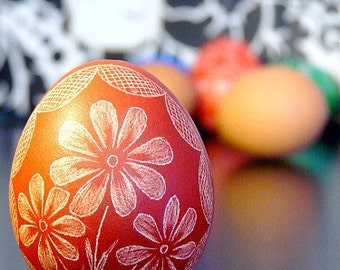 Easter Egg Seen on the Martha Stewart Show Ornament Hand Scratched- Lithuanian Ukrainian - Present Red Floral Pysanky Carved