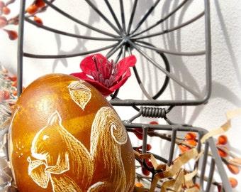 Handetched European Lithuanian Etched Chicken Egg - Pysanky - Polish Ukrainian - Squirrel Oak Acorn - Folk Primitive - Stand or Ornament