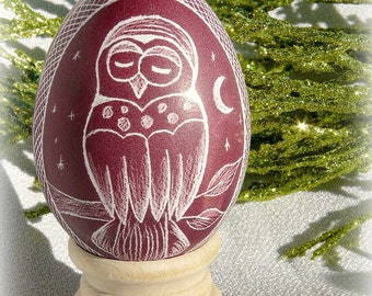 Egg Owl Night - Lithuanian European Poland Ukraine Scratched Real Pysanky - White Marroon Plum Red - Stand or Ornament - Christmas Present